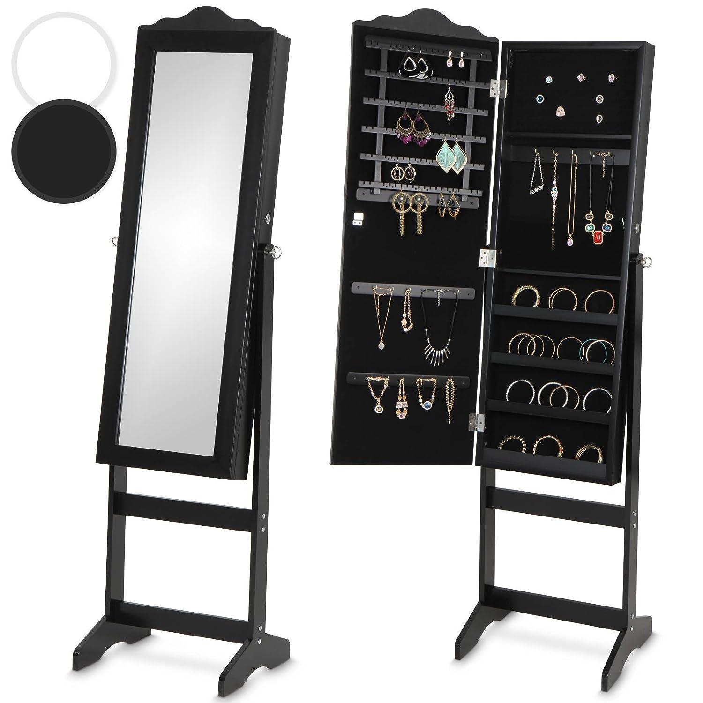Miadomodo Schmuckschrank mit Spiegel Standspiegel Spiegelschrank stehend - Maße (B/H/T): ca. 139,5 x 40,9 x 36,5 cm - schwarz oder weiss