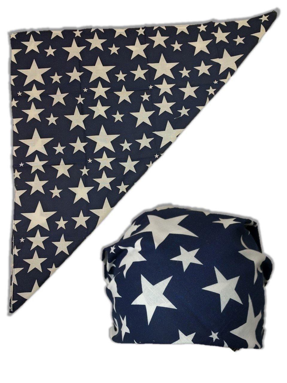 USA Patriotic Colored Stars Bandana -Blue