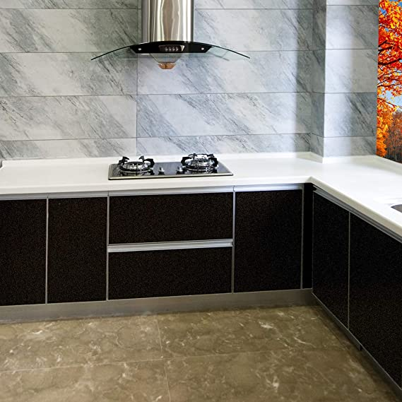5 M Negro Muebles Pantalla brillante Adhesivo DIY Cocina Protector de Armario con purpurina para cocina muebles: Amazon.es: Bricolaje y herramientas