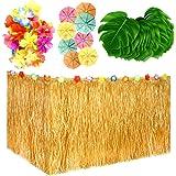 KUUQA 99 Pcs Hawaiian Tropical Party Decoration Set with 9ft Hawaiian Grass Table Skirt, Tropical Leaves, Hawaiian Flowers, U