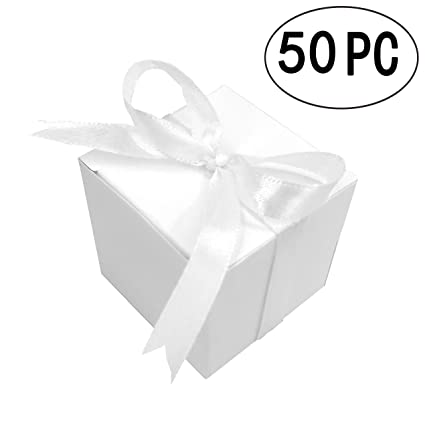 White Small Cube Candy Boxes Bulk Kraft Paper Wedding Party Favors Gift Boxes Baby Shower Thank You Treat Boxes Supplies 2x2x2 Inch 50pc