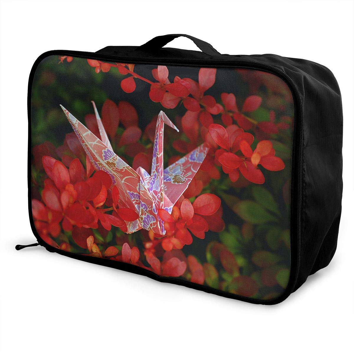 Travel Luggage Duffle Bag Lightweight Portable Handbag Origami Cranes Pattern Large Capacity Waterproof Foldable Storage Tote