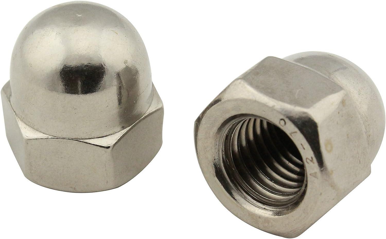 DIN 1587 en acier inoxydable A2 V2A Lot de 10 /écrous borgnes pi/èces standard SC forme haute