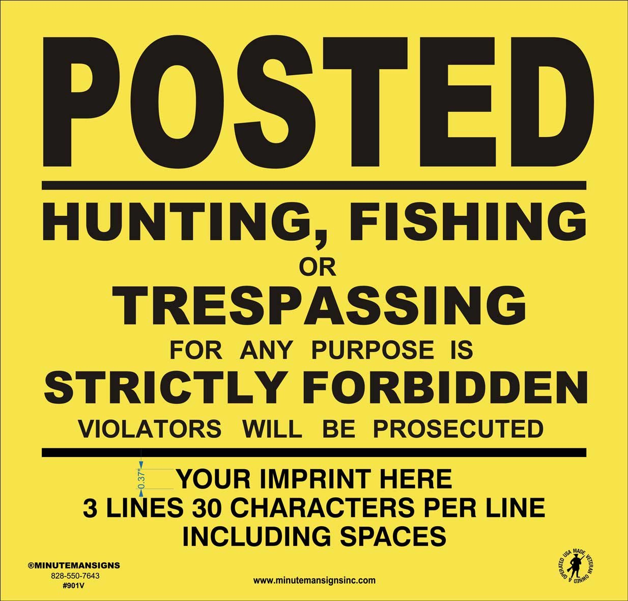 Heavy Gauge 13mil Vinyl Posted Signs with Your Custom Information (Yellow)