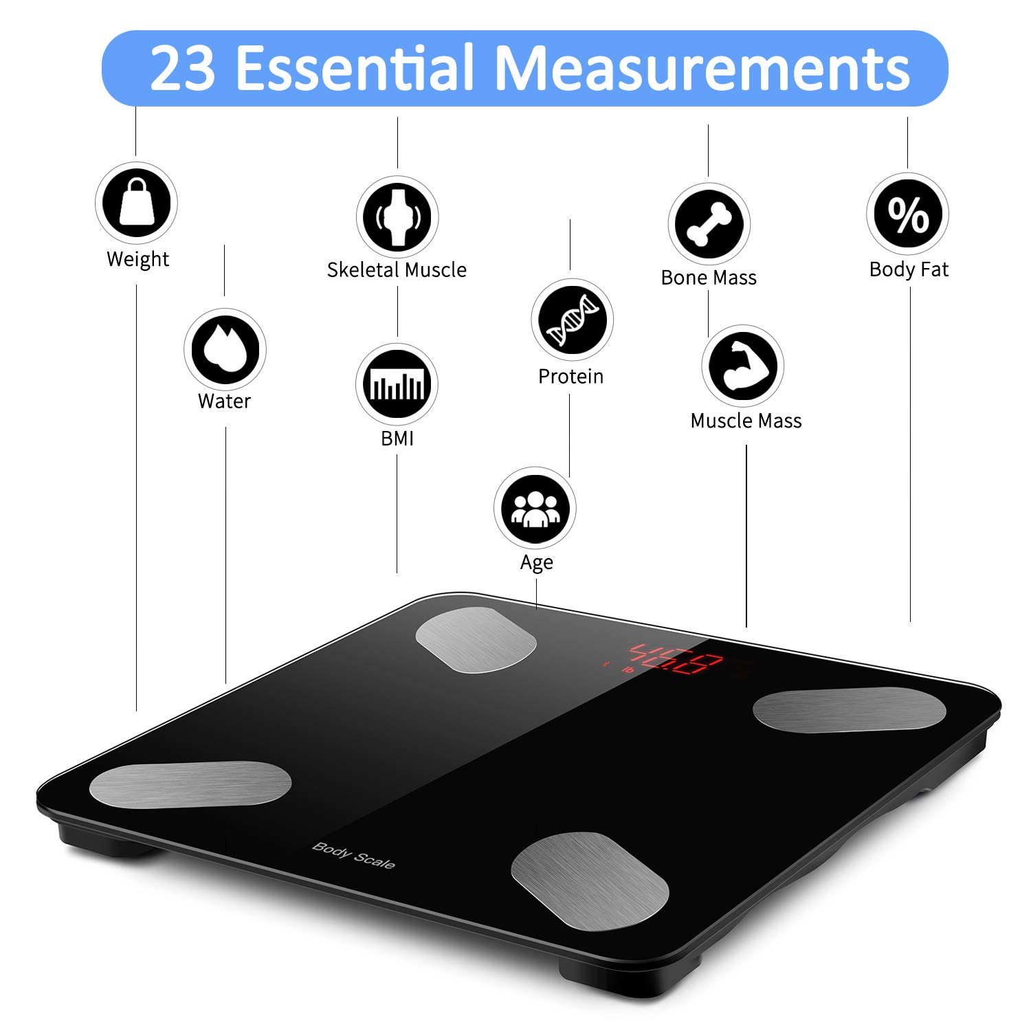 Isightguard Smart Bluetooth Body Fat Scale,BMI Scale Digital Bathroom Wireless Weight Scale, Body Composition Analyzer with Smartphone App,LED Display