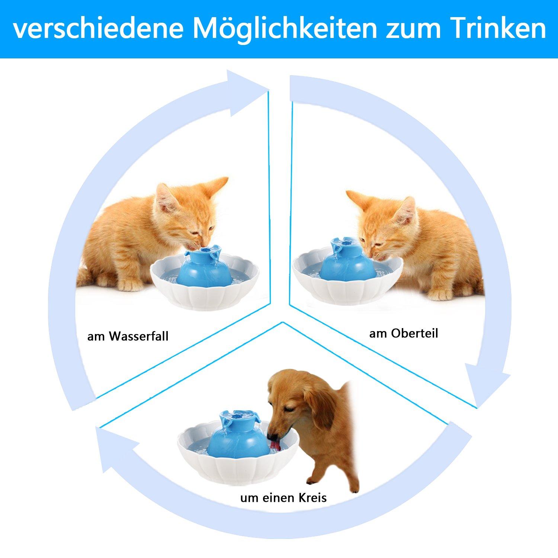 Trinkbrunnen für Katzen und Hunde aus Keramik, mit Doppelschicht ...