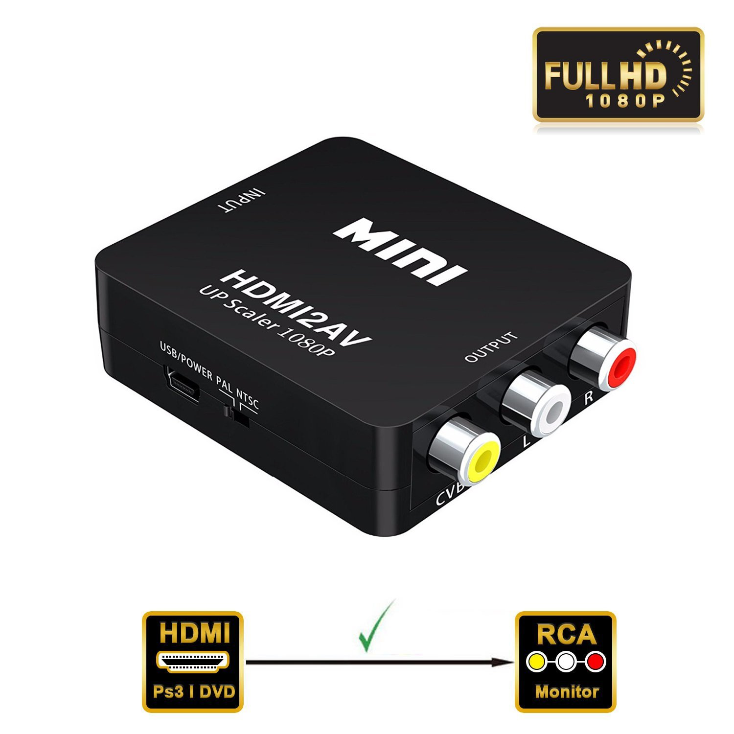 VAlinks 1080P HDMI to AV HDMI to 3RCA Composite CVBS Video Audio Converter Adapter HDMI 2 RCA Support PAL/NTSC for PC Laptop Xbox Blue-Ray PS4 PS3 HD TV STB VHS VCR Comb Camera DVD Color Box -Black
