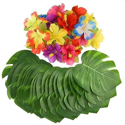 ZARRS 60 Piezas de Hojas de Palmera Tropical Artificial y Flores de Hibisco Tropical, Tema de decoración Hawaiana para Bodas, Decoraciones de Fiesta en la Jungla de la Playa: Juguetes y juegos