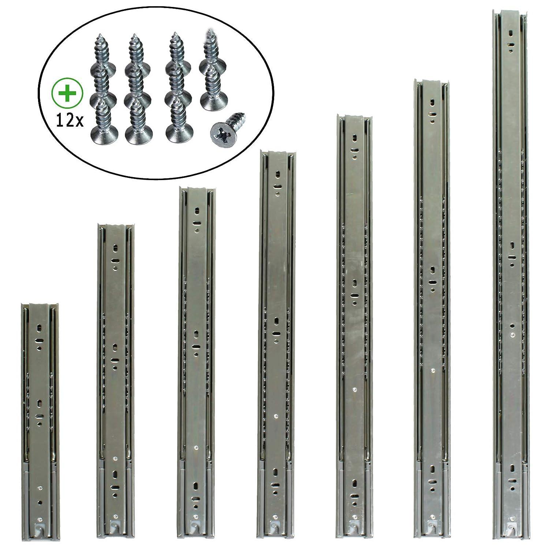 2 Stk. 1 Paar Schubladenschienen 30-70 cm Vollauszug mit und ohne SoftClose Selbsteinzug Kugelf/ührung 40cm mit SoftClose