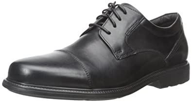 Rockport Men's Charles Road Cap Toe Oxford Black Leather 6.5 W (EE)-6.5