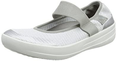 FitFlop Damen Uberknit Slip-on High Top Sneaker, Mehrfarbig (Metallic Silver/Urban White 567), 38 EU
