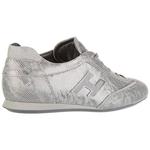 Hogan Scarpe Sneakers Donna in Pelle Nuove Olympia h Flock Argento ... aabd2d66b32