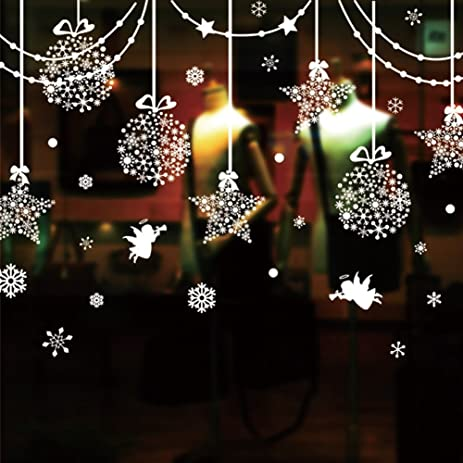 christmas decorations hanging balls shinning stars snowflakes and white angels for home shop window coverings decor