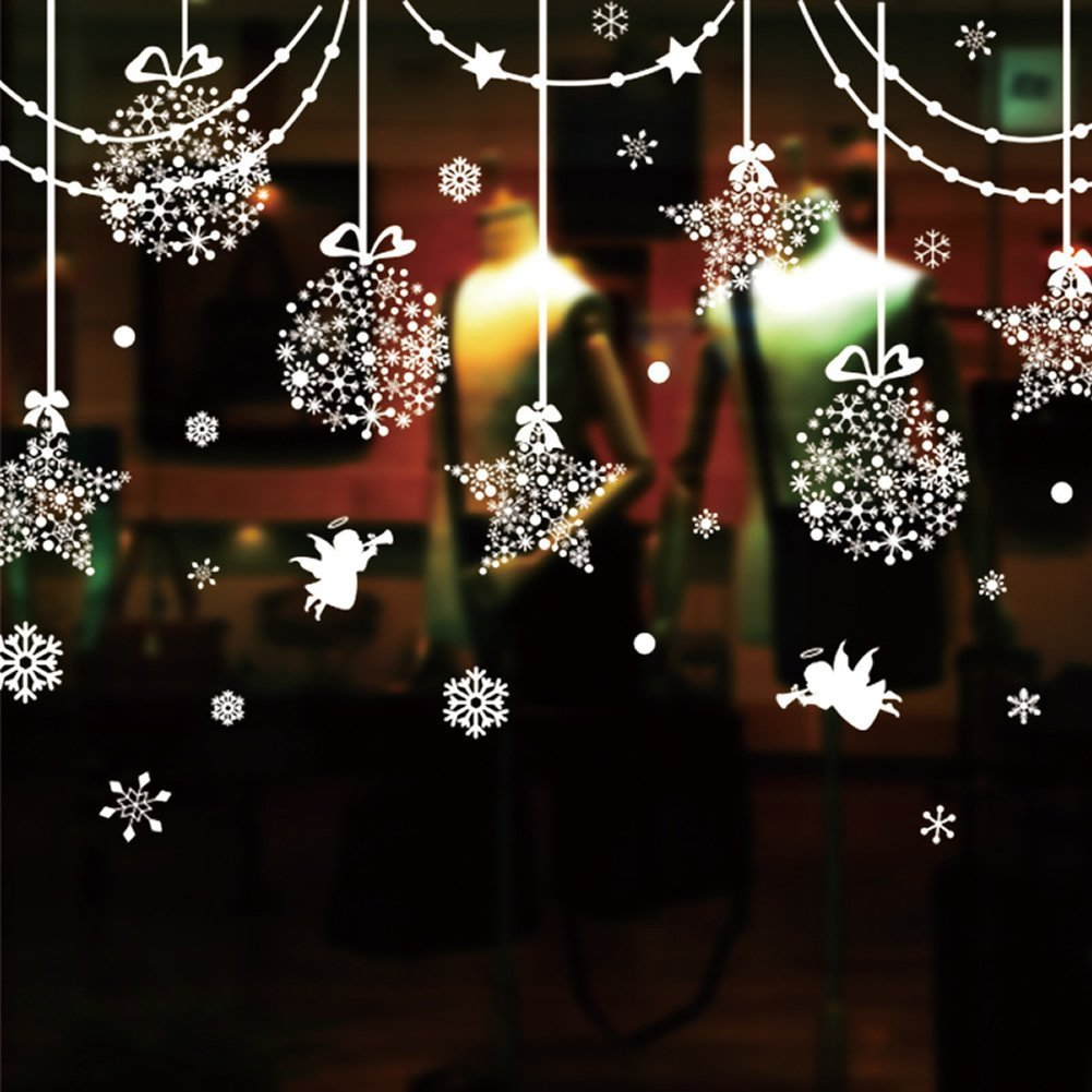SWORNA Holiday Series SN-64 Merry Christmas Ball Star Snowflakes Decoration Removable Vinyl Wall Window Door Mural Decal Sticker Retail Store/Coffee House/Restaurant/Supermarket/Dress Shop 30''H X 63''W