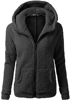 OUO Womens Soft Teddy Fleece Hooded Jumper Hoody Jacket Coat Size S-5XL 1c6c3d63b