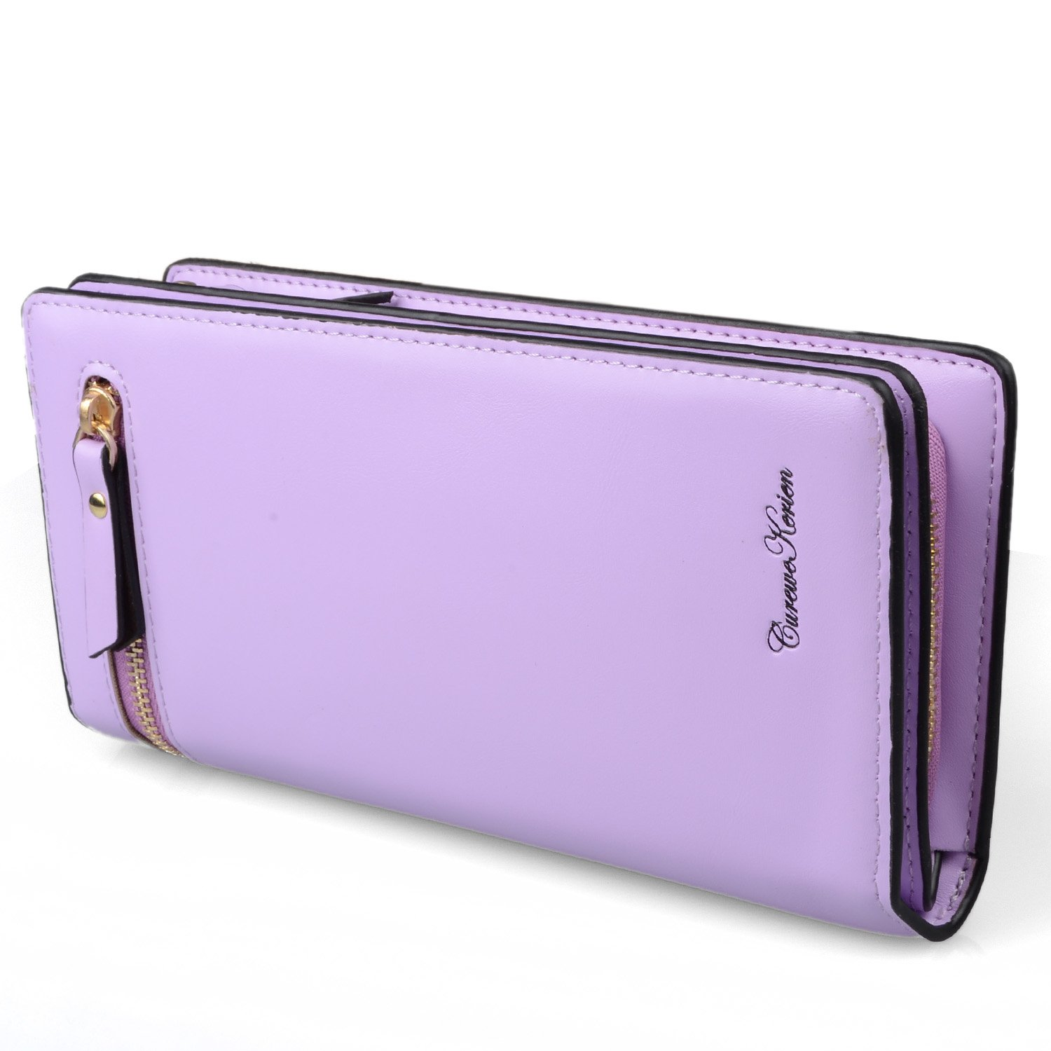 Gottowin Women Long Clutch Wallet PU Leather Handbag Ladies Purse Large Capacity Multi Card Cellphone Holder Organizer with Zipper Closure Valentine's Gift (Lilac)