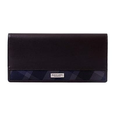 ae9b5523dca4 Amazon | [名入れ可] BLACK LABEL CRESTBRIDGE ブラックレーベル クレストブリッジ チェック 二つ折り 長財布 レザー  ショップバッグ付き 51214-120 | 財布