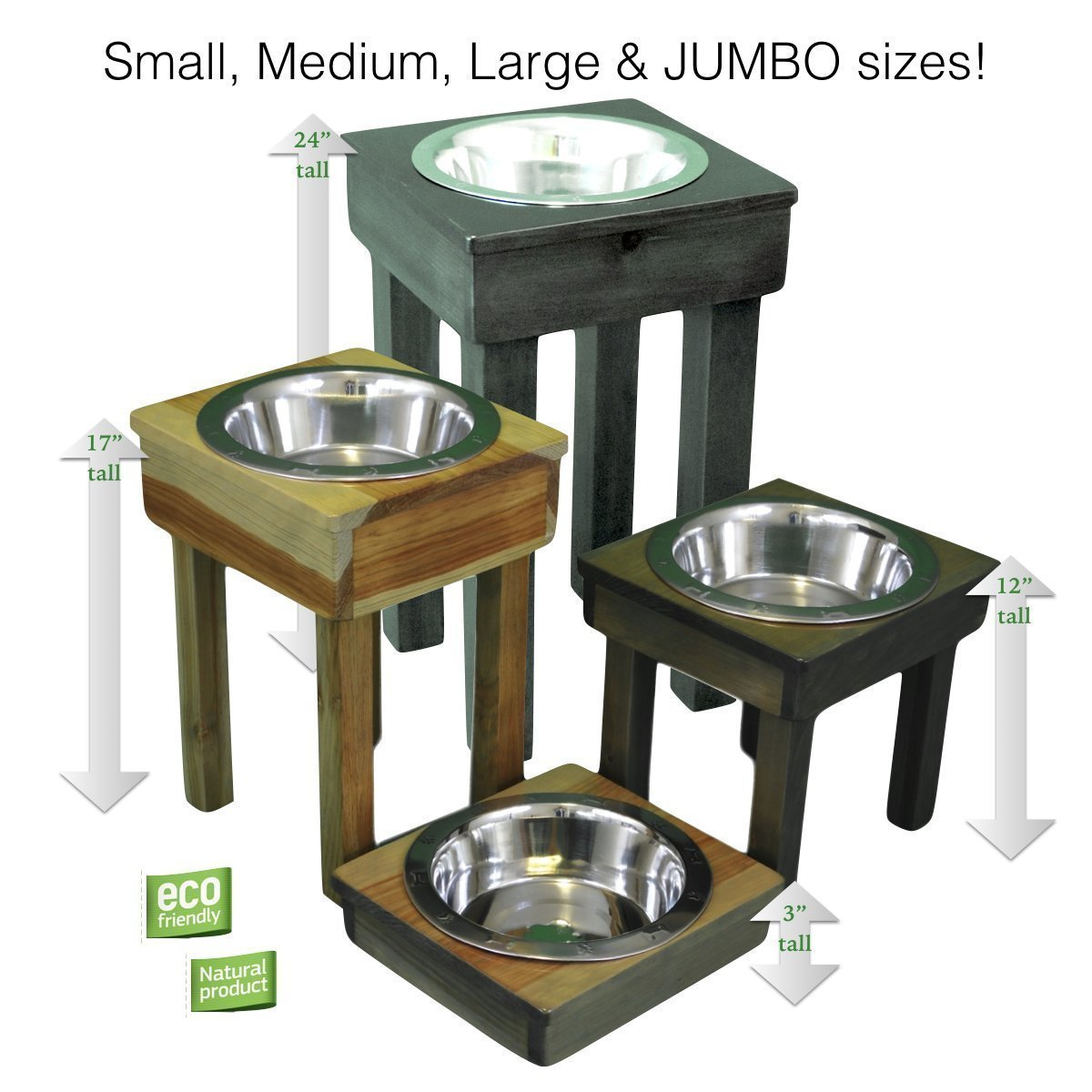 Raised Dog Bowl, 3''H, 12''H, 17''H or 24''H, Single Dish, 100% Natural, Eco-Friendly, Non-Toxic durable finish! 3 qt embossed stainless steel bowl. Raised Dog Dish, Feeding Stand, USA crafted by OFTO