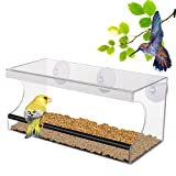PEDY Large Window Bird Feeder with Removable Tray, Acrylic Clear Window Mount,Easy to Clean and Fill ,3 Suction Cups