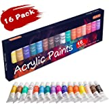Acrylic Paint Set, Shuttle Art 16 x12ml Tubes Artist Quality Non Toxic Rich Pigments Colors Great For Kids Adults Professional Painting on Canvas Wood Clay Fabric Ceramic Crafts
