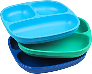 """product image for Re-Play Made in USA 3pk - 7.37"""" Divided Plates with Deep Sides for Baby, Toddler, Child Mealtime - Sky Blue, Aqua & Navy Blue 
