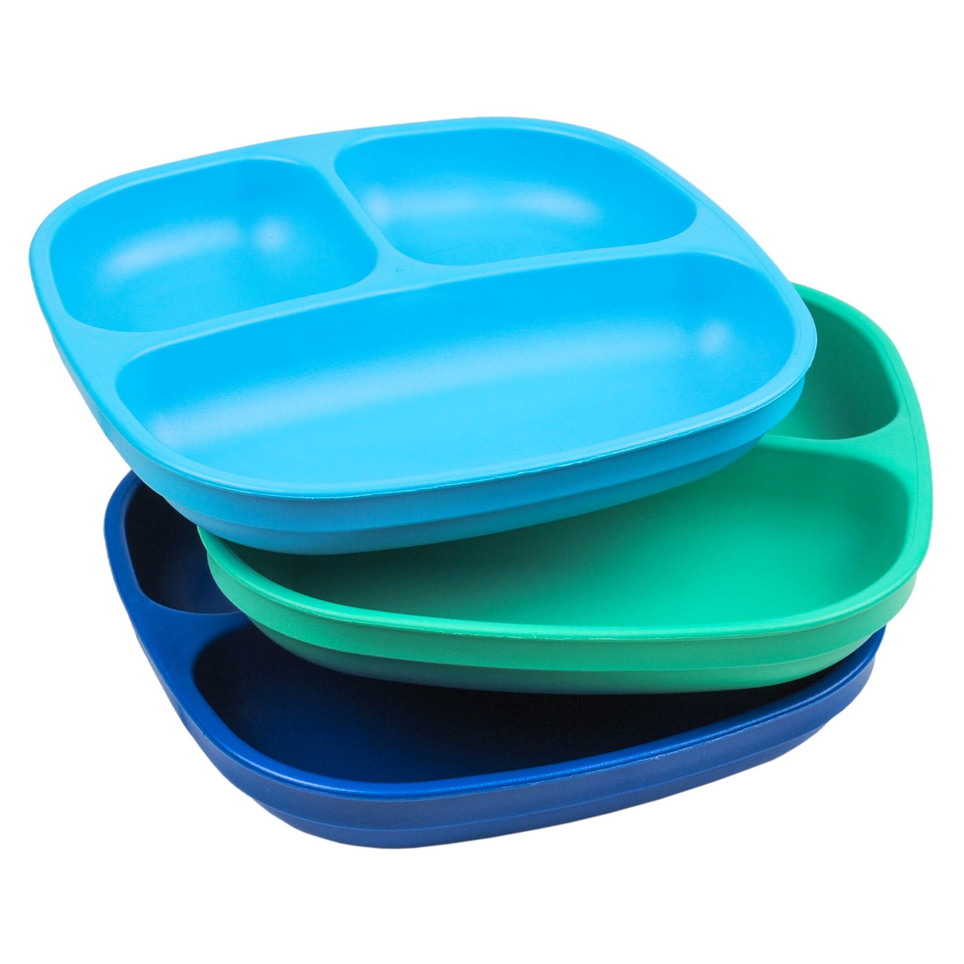 Re-Play Made in USA 3pk - 7.37'' Divided Plates with Deep Sides for Baby, Toddler, Child Mealtime - Sky Blue, Aqua & Navy Blue | Eco Friendly Heavyweight Recycled HDPE are Virtually Indestructible! by Re-Play