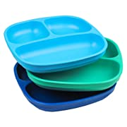 Re-Play Made in USA 3pk Divided Plates with Deep Sides for Easy Baby, Toddler, Child Feeding - Sky Blue, Aqua & Navy Blue (True Blue)