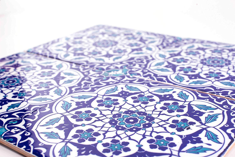 Taner Lot de 25 dalles murales turques multicolores en c/éramique Iznik 20 x 20 cm Id/éal pour la cuisine ou la salle de bain.
