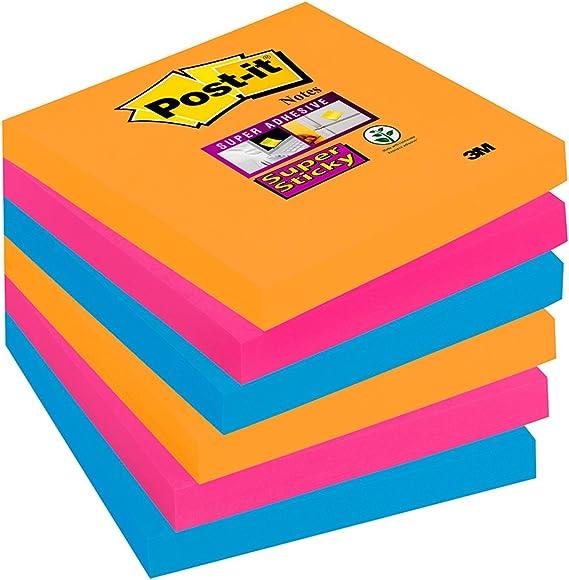 Post-It 654-6SS-EG - Pack de 6 blocs de notas adhesivas, 76 x 76 ...