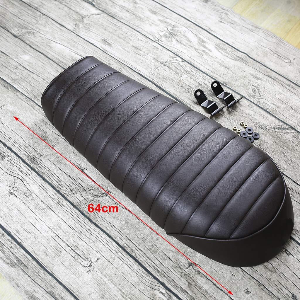 #3 Noir 63cm B Baosity Si/ège de Moto Vintage Coussin Plat pour Caf/é Racer 63cm