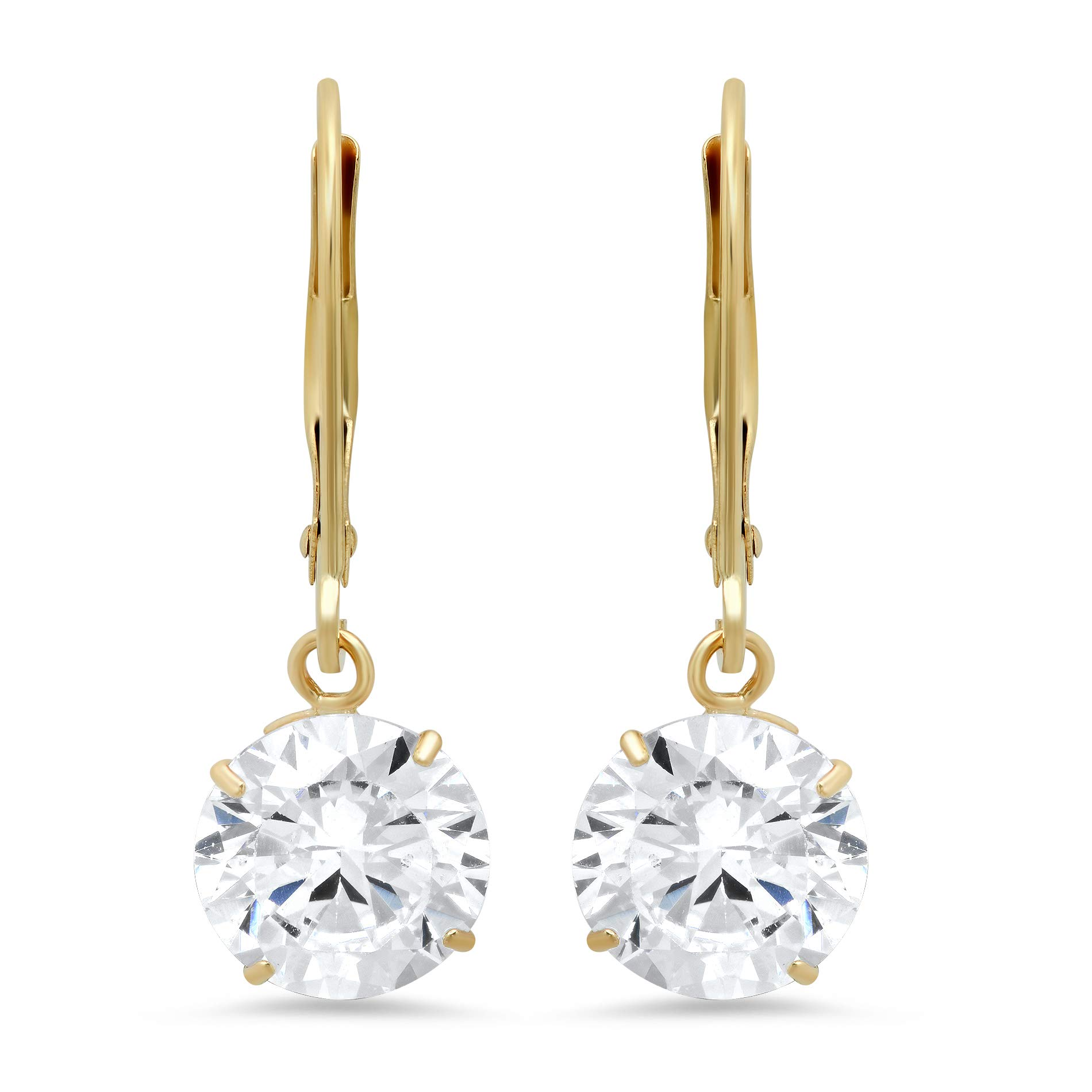 14k Yellow Gold Leverback Earrings with Cubic Zirconia Dangles | 4 CT.TW. | Gift Boxed