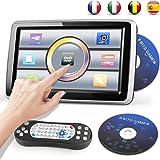 Catuo Lettore DVD Portatile Universale per Auto Display tattile 10.1'' 1080P Poggiatesta Auto Angolo Regolabile FM USB SD Card Joystick e Disk Game forniti