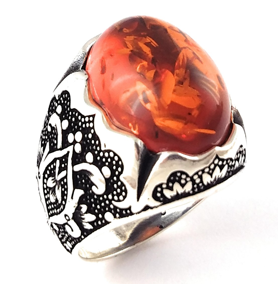 Luxury 925 Sterling Silver Turkish Handmade Ottoman Created Amber Men's Ring (9)