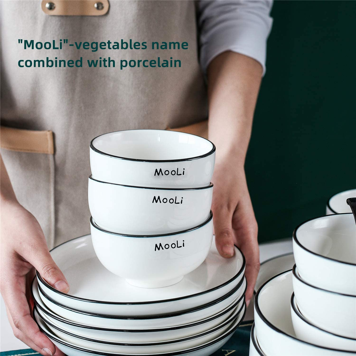 GDCZ Porcelain Rice Soup Bowls Set of 8 10oz Ceramic Stackable Round Cereal Ice Cream Bowl 4.5-inch White