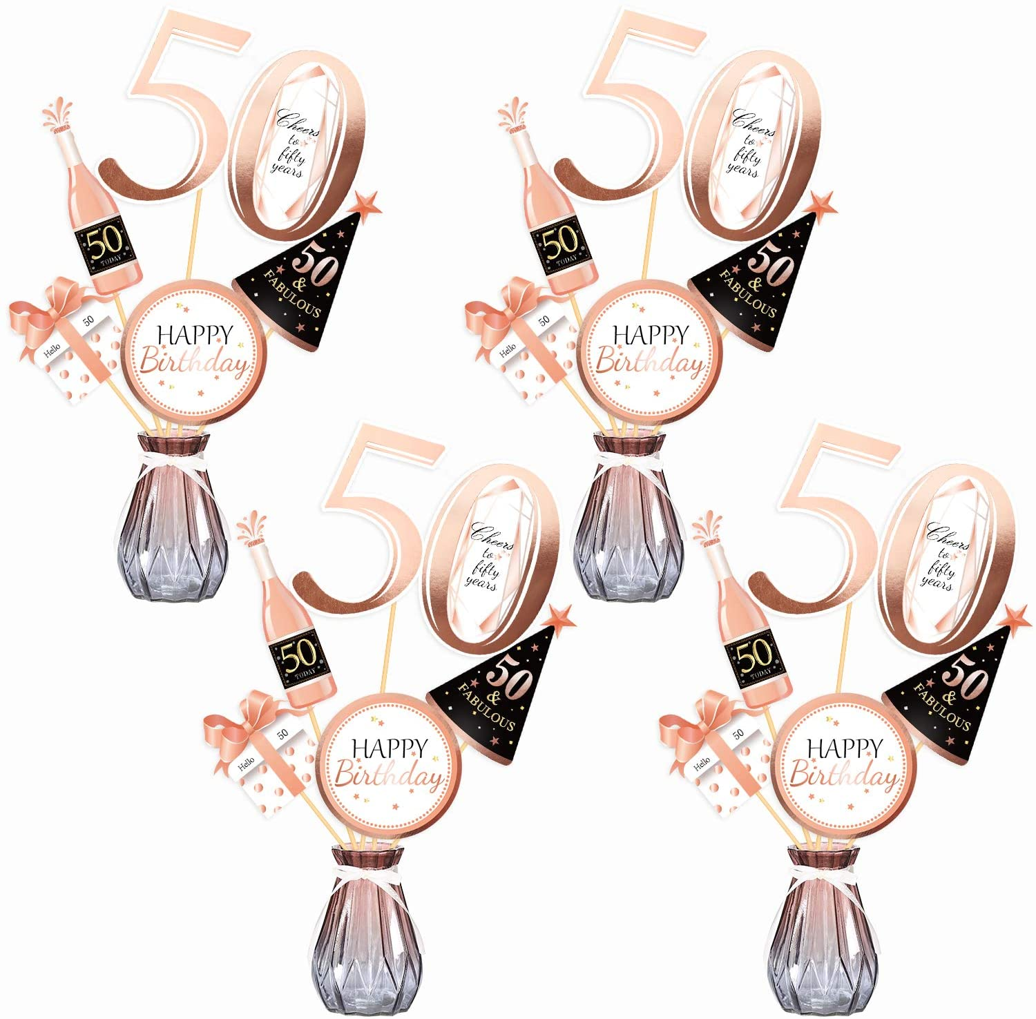 Konsait Rose Gold 50th Birthday Centerpiece Sticks-50th Birthday Table Toppers -Birthday Party Decorations Accessories- 50 Fabulous -Bday Party Cheers to fifty Years Birthday Party Favor Table Supplies