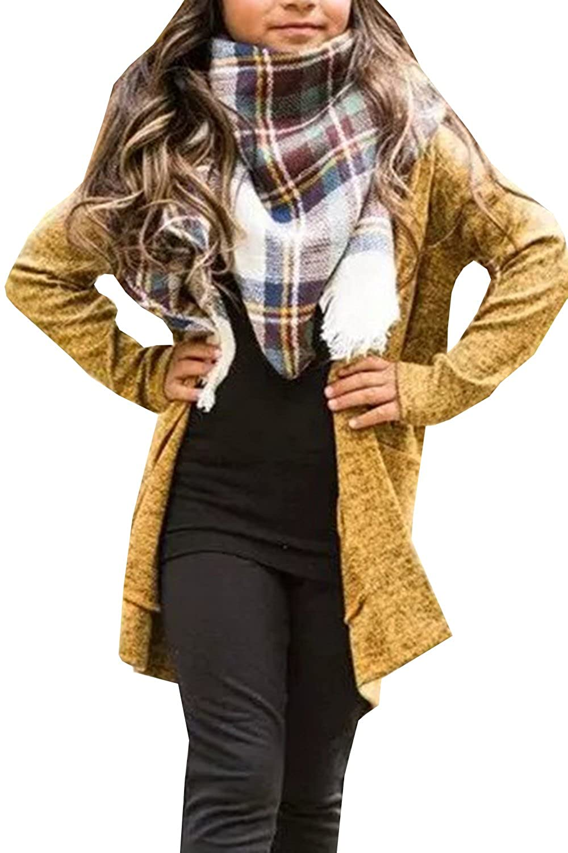 Geckatte Girls Boyfriend Cardigan Open Front Long Sleeve Fall Lightweight Knit Sweater Coat Jacket