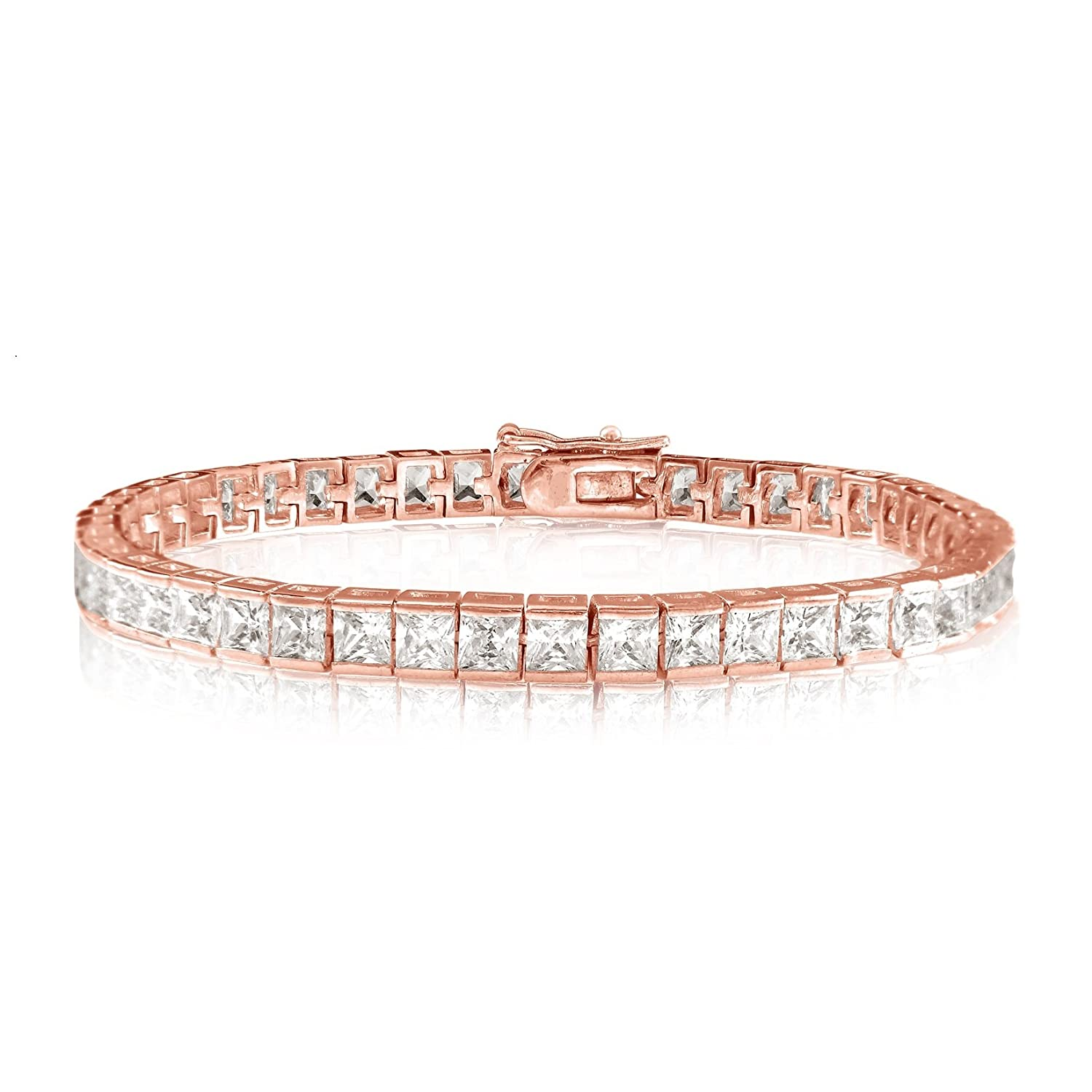 KEZEF Creations Square Princess Cut 4x4mm CZ Tennis Bracelet in Yellow or Rose Gold Overlay or Rhodium Plated Brass Kezef Creations Inc. BTSQ04-06WCZ-BRH