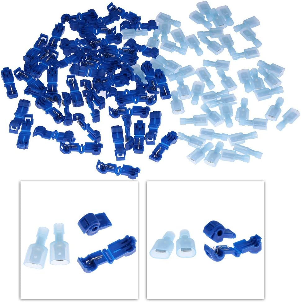 Zreneyfex Electrical Cable Connectors Quick Splice Lock Wire Terminals Crimp Blue 100 Pcs