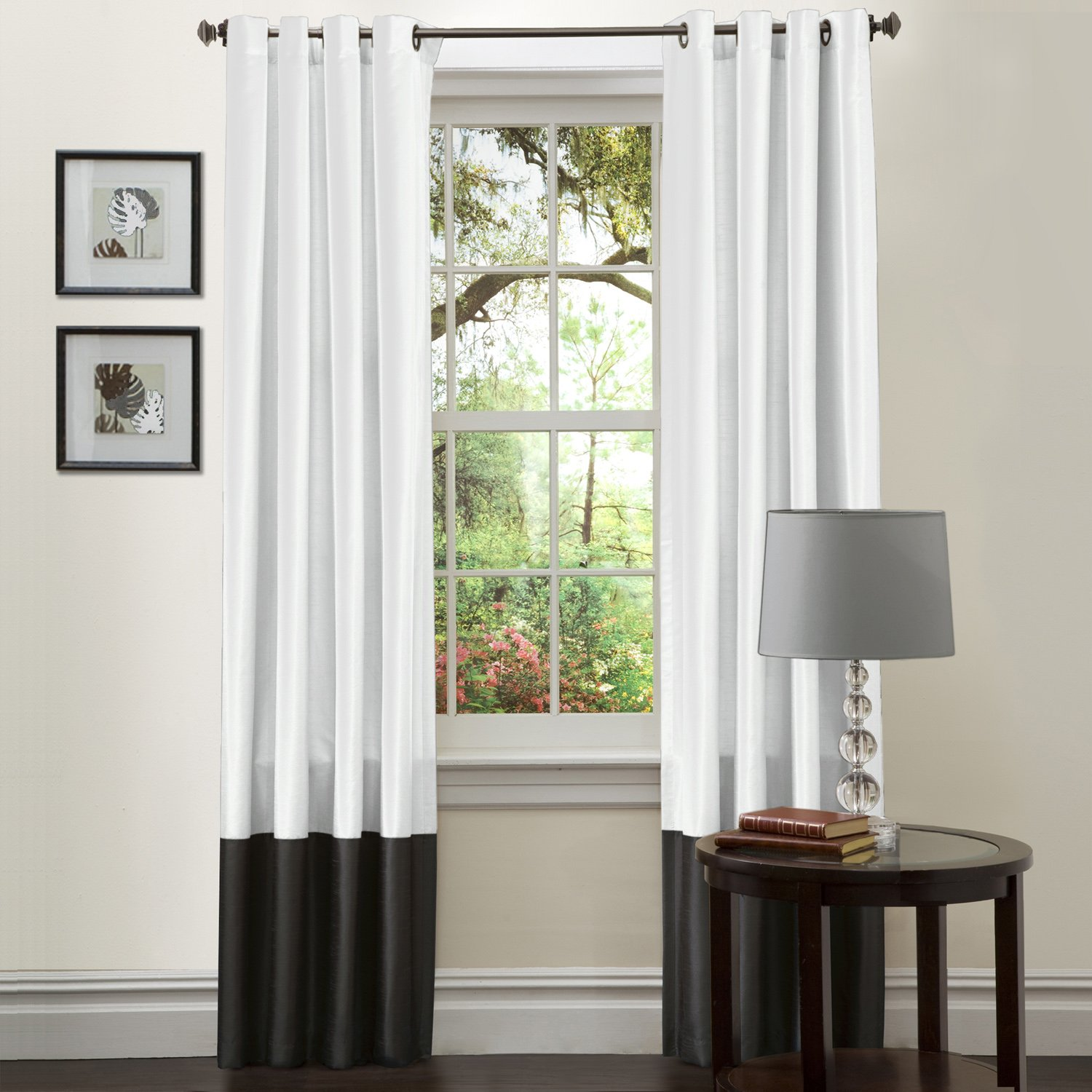 Lush Decor Prima Window Curtain Panel Pair, 84 inch x 54 inch, Black/White, Set of 2
