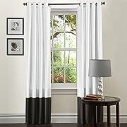 Lush Decor Prima Window Curtain Panel Pair, 84 inch x 54 inch, Black/White, Set of 2
