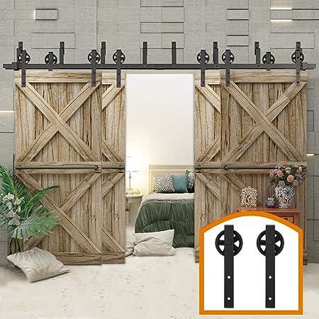 10FT Double Sliding Barn Door Hardware Track Kit Black Wheel Closet Hanger Rail