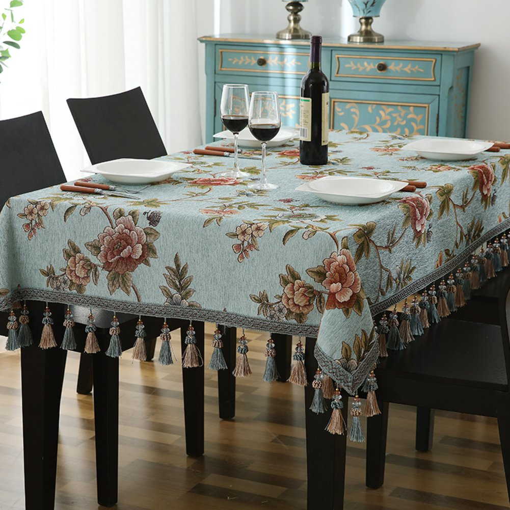 Bbdsj Mantel de casa High-end mesa tela Estilo europeo Paño decorativo escritorio casa En el oído Borla [plantas flores] Mantel-A 140x240cm(55x94inch)