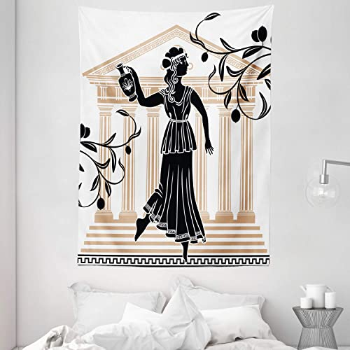 Ambesonne Retro Tapestry, Greek Woman with Amphora Building and Olive Branches Culture Folk Pattern, Wall Hanging for Bedroom Living Room Dorm, 60 X 80 , Brown Black