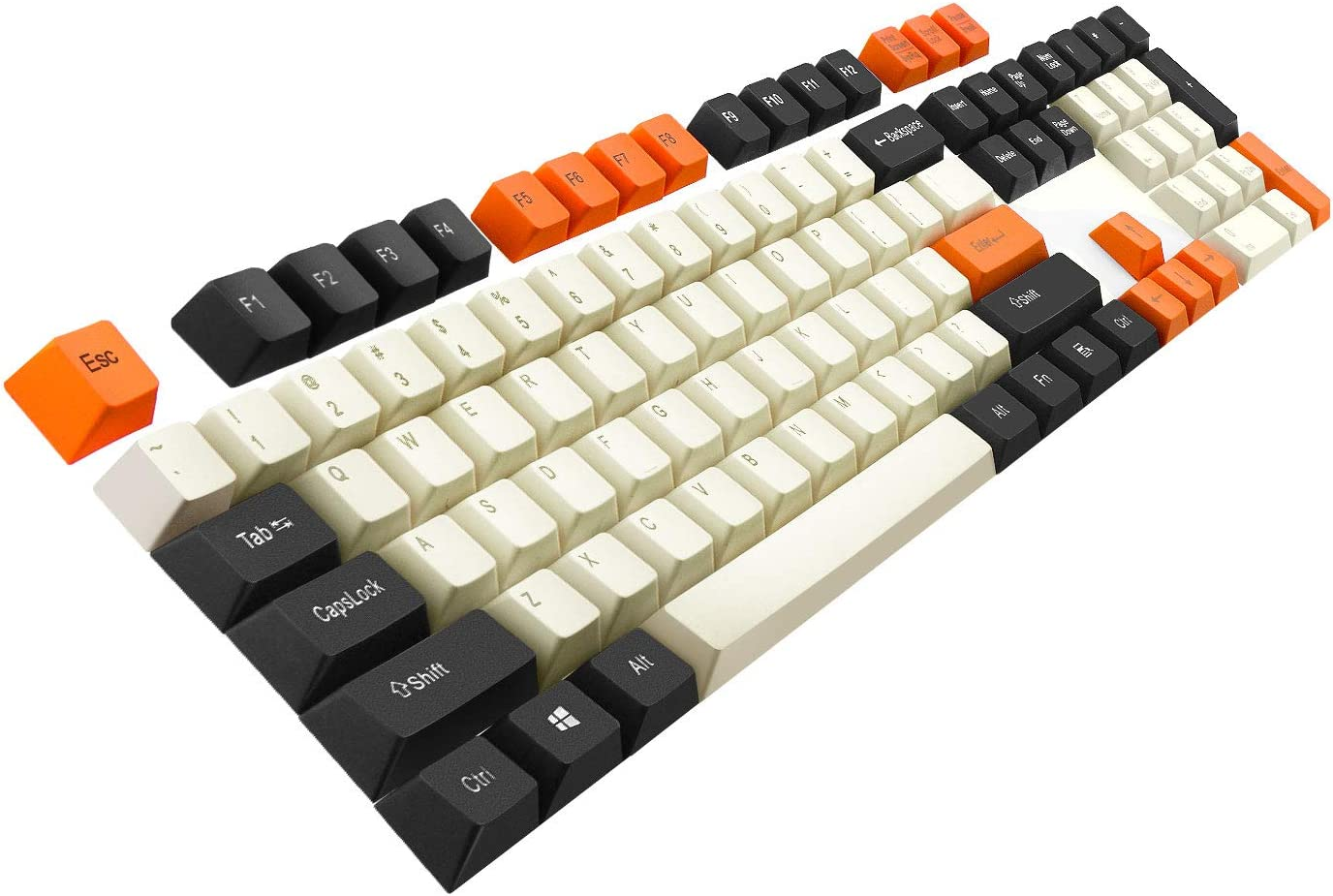 Keycaps Havit PBT Keycaps 67 87 104 Keys Gaming Keycap Set with Puller for DIY Cherry MX Mechanical Keyboard(Black & White & Orange)