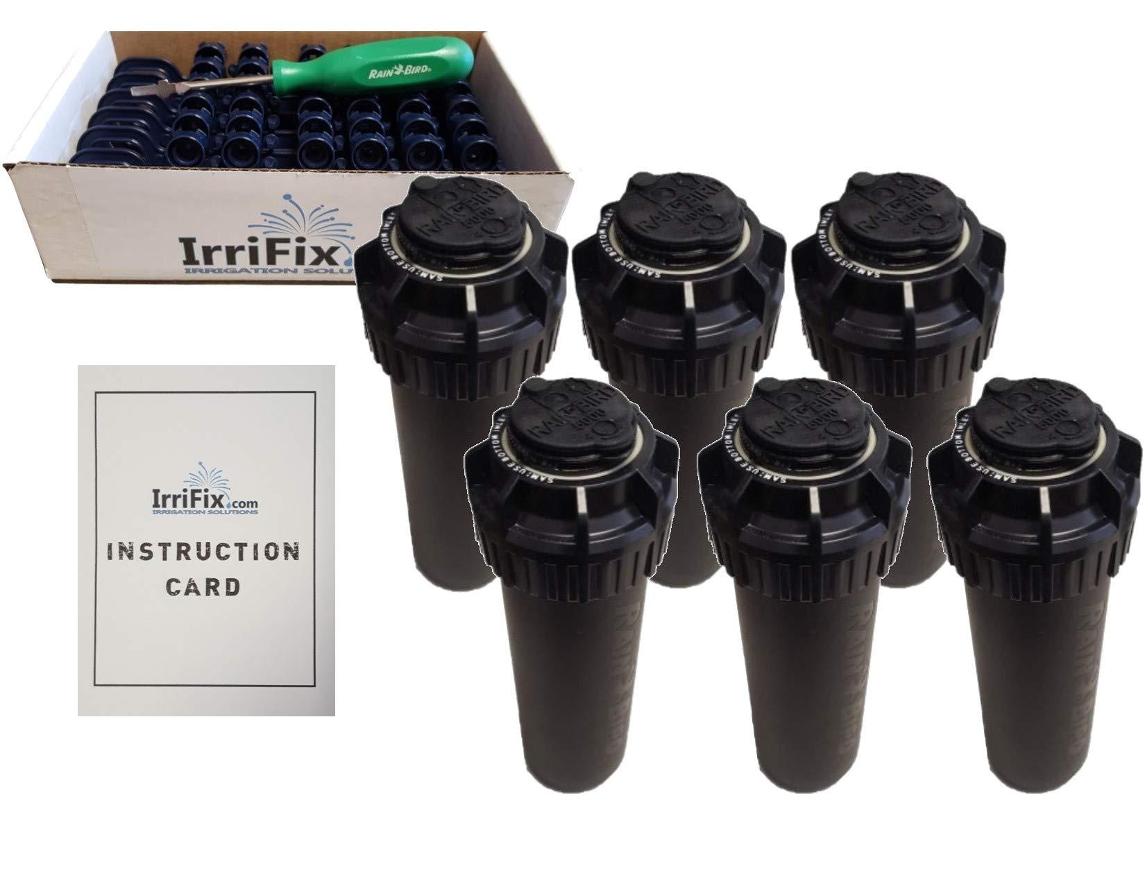 Rain Bird 5000 Series Seal-A-Matic Sprinkler Heads Bundle - 6 Pack 5004PCSAM SAM Rotors with IrriFix Nozzle Box Including 6 Nozzle Trees, 1 Rotortool Screwdriver, and IrriFix Instruction Sheet by IrriFix