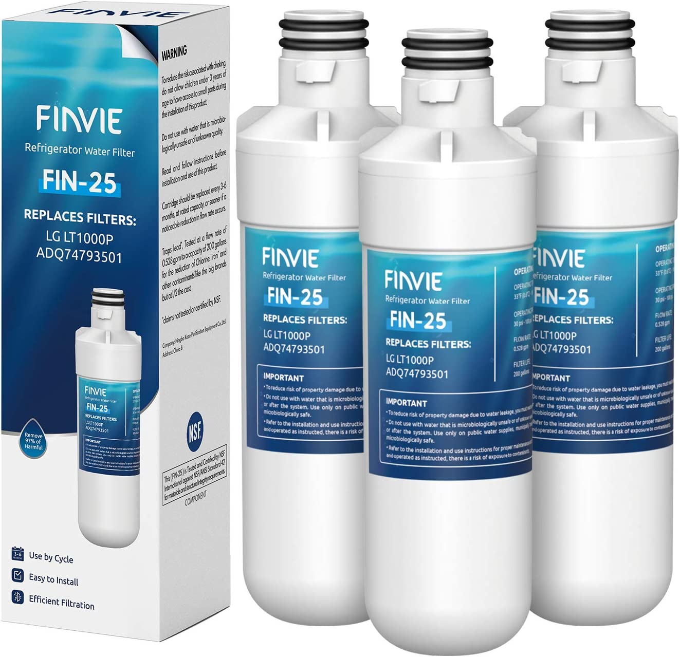 FINVIE LT1000p Refrigerator Water Filter, Compatible with LG LT1000P, LT1000PC, LT-1000PC, ADQ74793501, ADQ74793502, MDJ64844601, Kenmore 469980, LMXS28626S, 3 Pack