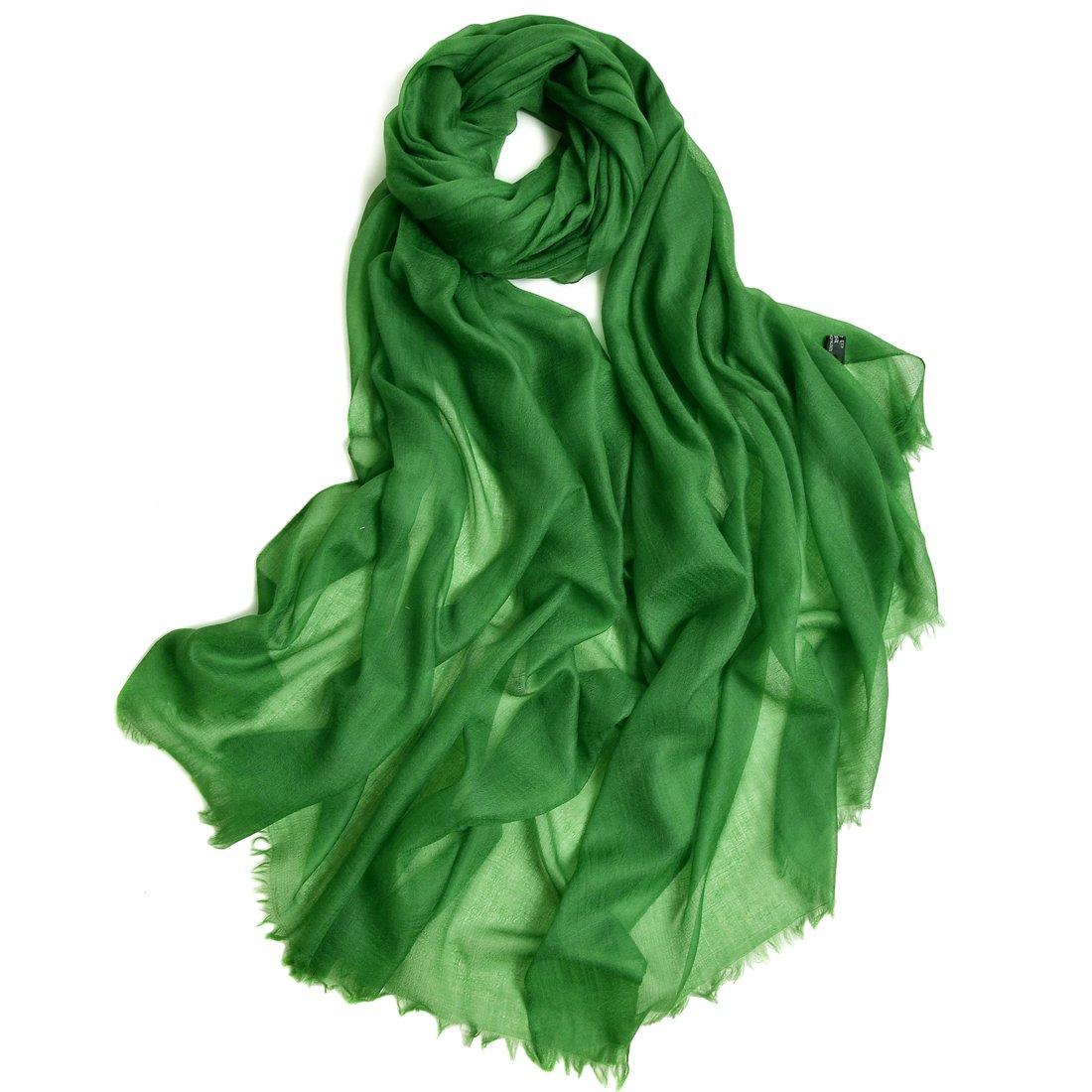 ZORJAR Pure Cashmere Scarf Women Ultra Thin Pashmina Shawls and Wraps 39''x94''(DarkGreen)