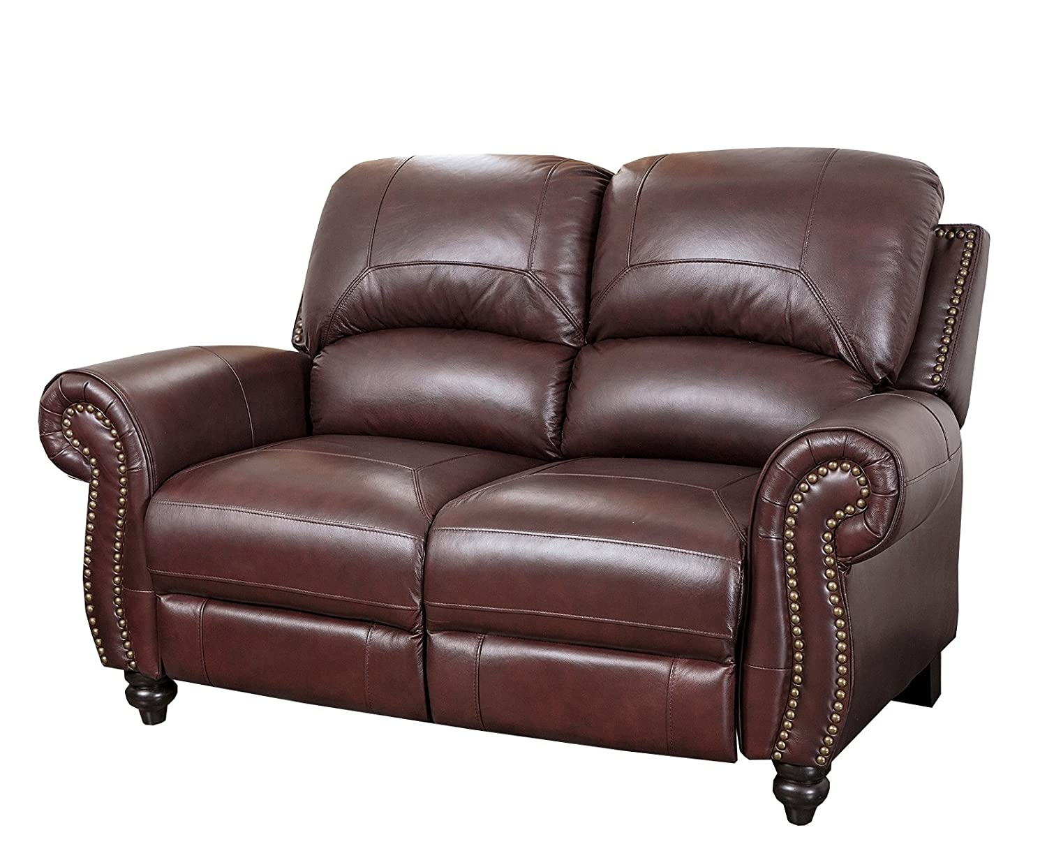 Amazon com abbyson durham leather pushback reclining loveseat burgundy home kitchen