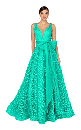 a6387007f02 Terani Couture - 1912P8553 Petal Accented Draped Tulle Gown at Amazon  Women s Clothing store