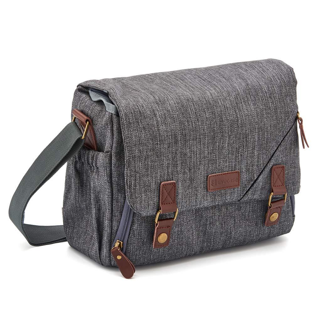 DSLR Gadget Bag, Evecase Large Canvas Water Resistant Shockproof SLR Messenger Shoulder Case Bag for Mirrorless, Micro 4/3, Compact System, High Zoom Digital Camera - Gray 885157001465